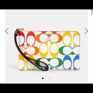 Coach wallet wristlet new rainbow